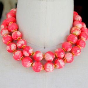 Vintage Pink Statement Necklace Multi Layer